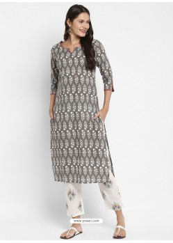 Taupe Readymade Party Wear Kurti With Bottom