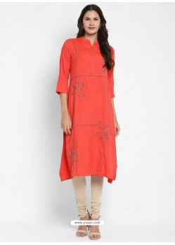 Orange Designer Party Wear Readymade Kurti