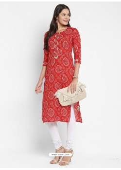 Red Designer Party Wear Readymade Kurti