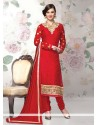 Opulent Red Brasso Georgette Churidar Salwar Suit