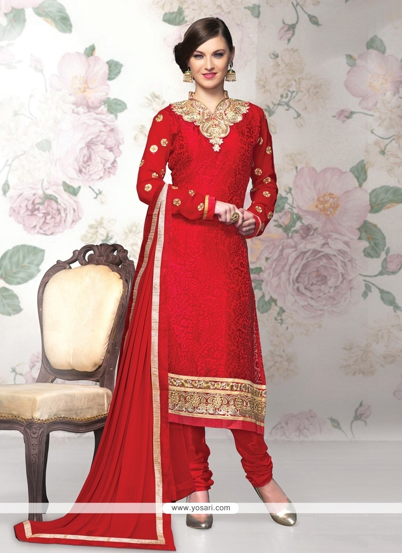Opulent Red Brasso Georgette Churidar Salwar Suit