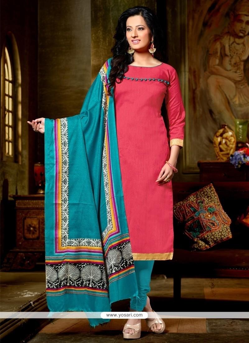 Zesty Pink Banglori Silk Churidar Designer Suit