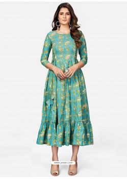 Aqua Mint Designer Party Wear Readymade Kurti