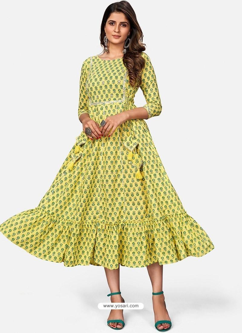 Lemon Designer Party Wear Readymade Kurti