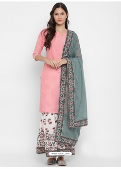 Pink Readymade Party Wear Kurti Bottom With Dupatta