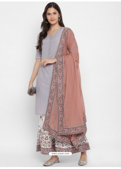 Light Grey Readymade Party Wear Kurti Bottom With Dupatta