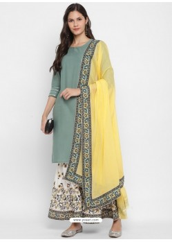 Grayish Green Readymade Party Wear Kurti Bottom With Dupatta