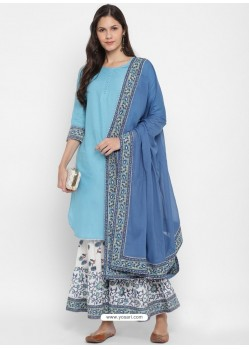 Sky Blue Readymade Party Wear Kurti Bottom With Dupatta