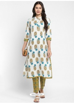 White Readymade Party Wear Kurti With Bottom