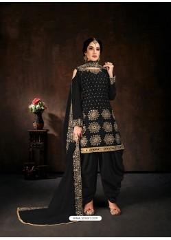 Black Designer Party Wear Faux Georgette Punjabi Patiala Suit