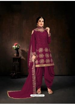 Deep Wine Designer Party Wear Faux Georgette Punjabi Patiala Suit