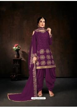 Purple Designer Party Wear Faux Georgette Punjabi Patiala Suit