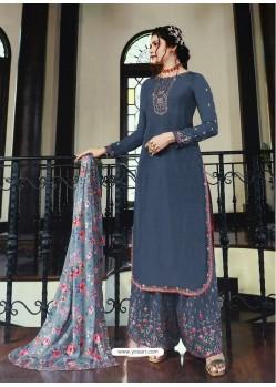 Pigeon Muslin Satin Designer Party Wear Palazzo Salwar Suit