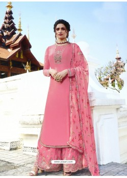 Light Pink Muslin Satin Designer Party Wear Palazzo Salwar Suit