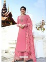 Light Pink Muslin Satin Designer Party Wear Palazzo Salwar Suit