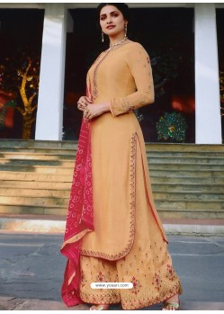 Cream Muslin Satin Designer Party Wear Palazzo Salwar Suit