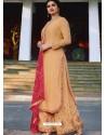 Cream Muslin Satin Designer Party Wear Palazzo Salwar Suit