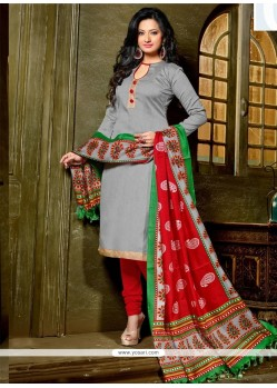 Bedazzling Lace Work Banglori Silk Grey Churidar Designer Suit