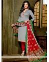 Bedazzling Lace Work Banglori Silk Grey Churidar Designer Suit