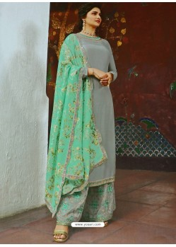 Grey Muslin Satin Designer Party Wear Palazzo Salwar Suit