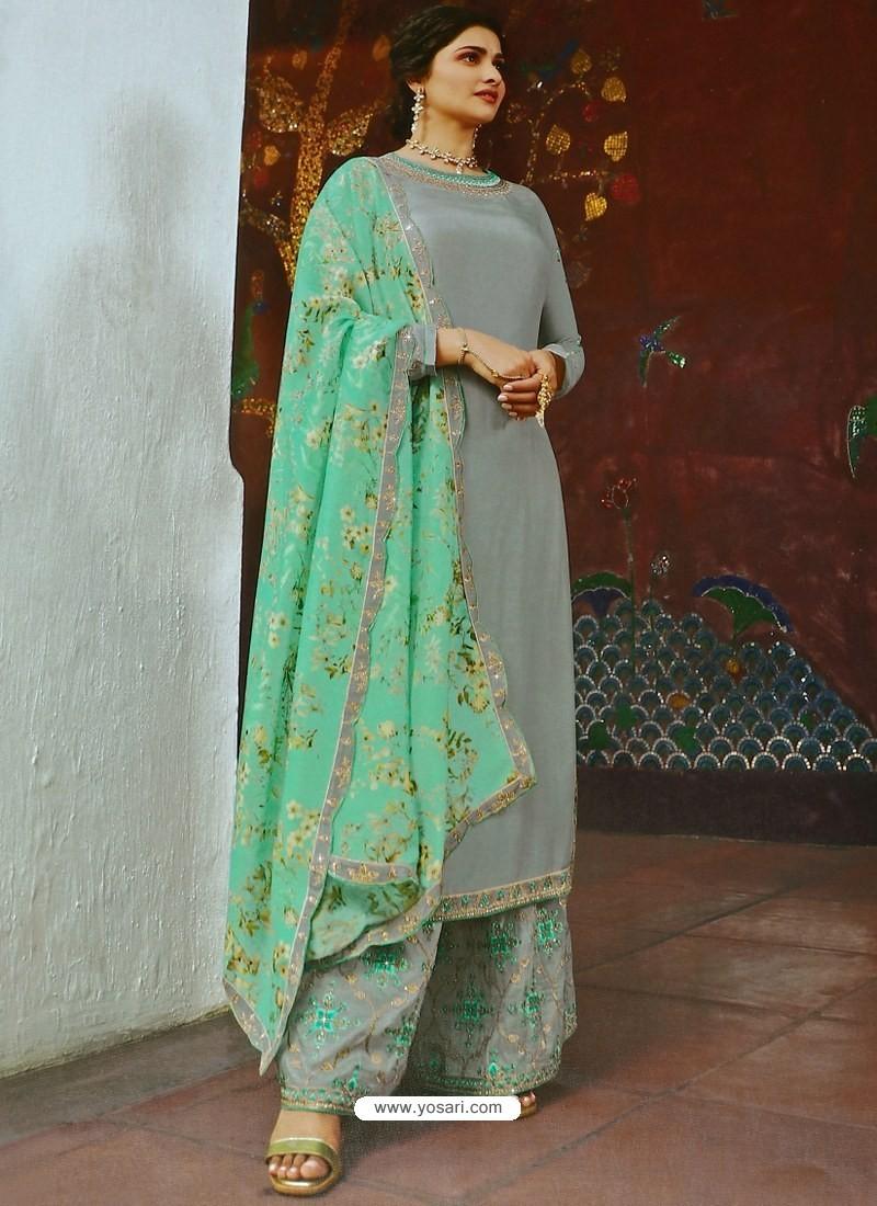 Grey Muslin Satin Designer Party Wear Palazzo Salwar Suit