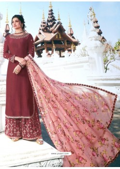 Maroon Muslin Satin Designer Party Wear Palazzo Salwar Suit