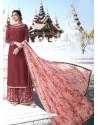 Maroon Muslin Satin Designer Party Wear Palazzo Salwar Suit
