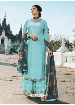 Sky Blue Muslin Satin Designer Party Wear Palazzo Salwar Suit