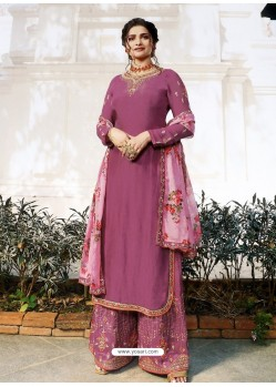 Deep Wine Muslin Satin Designer Party Wear Palazzo Salwar Suit
