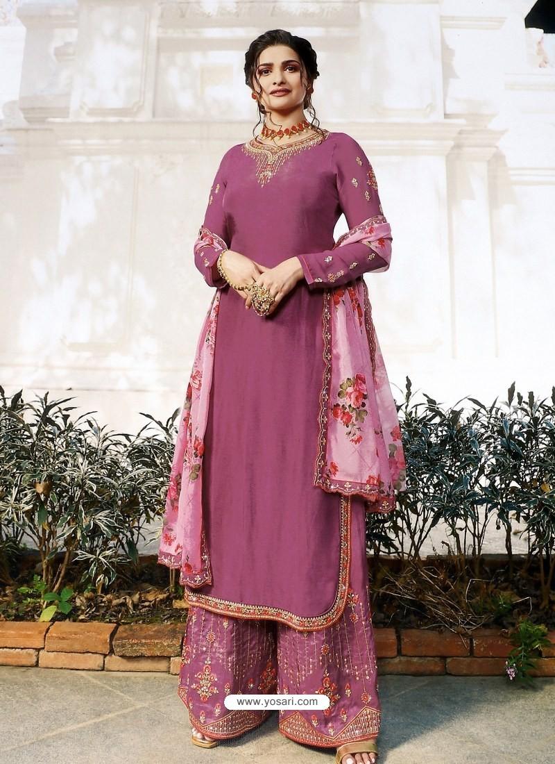 Deep Wine Muslin Satin Designer Party Wear Palazzo Salwar Suit