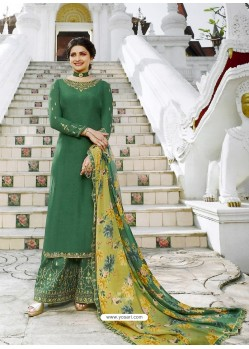 Dark Green Muslin Satin Designer Party Wear Palazzo Salwar Suit