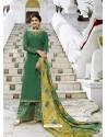 Dark Green Muslin Satin Designer Party Wear Palazzo Salwar Suit