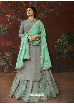 Grey Muslin Satin Designer Party Wear Wedding Suit