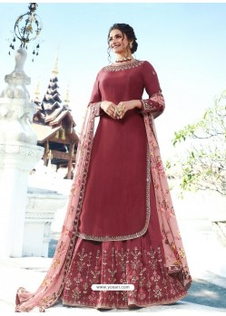 Maroon Muslin Satin Designer Party Wear Wedding Suit