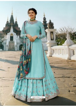 Sky Blue Muslin Satin Designer Party Wear Wedding Suit