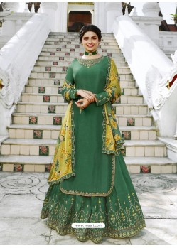 Dark Green Muslin Satin Designer Party Wear Wedding Suit