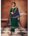 Dark Green Satin Georgette Designer Party Wear Straight Salwar Suit