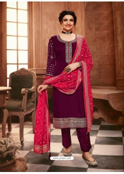 Deep Wine Satin Georgette Designer Party Wear Straight Salwar Suit