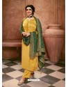 Yellow Satin Georgette Designer Party Wear Straight Salwar Suit