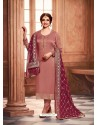 Old Rose Satin Georgette Designer Party Wear Straight Salwar Suit