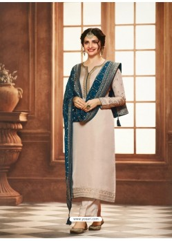 Off White Satin Georgette Designer Party Wear Straight Salwar Suit