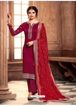 Rose Red Satin Georgette Designer Party Wear Straight Salwar Suit