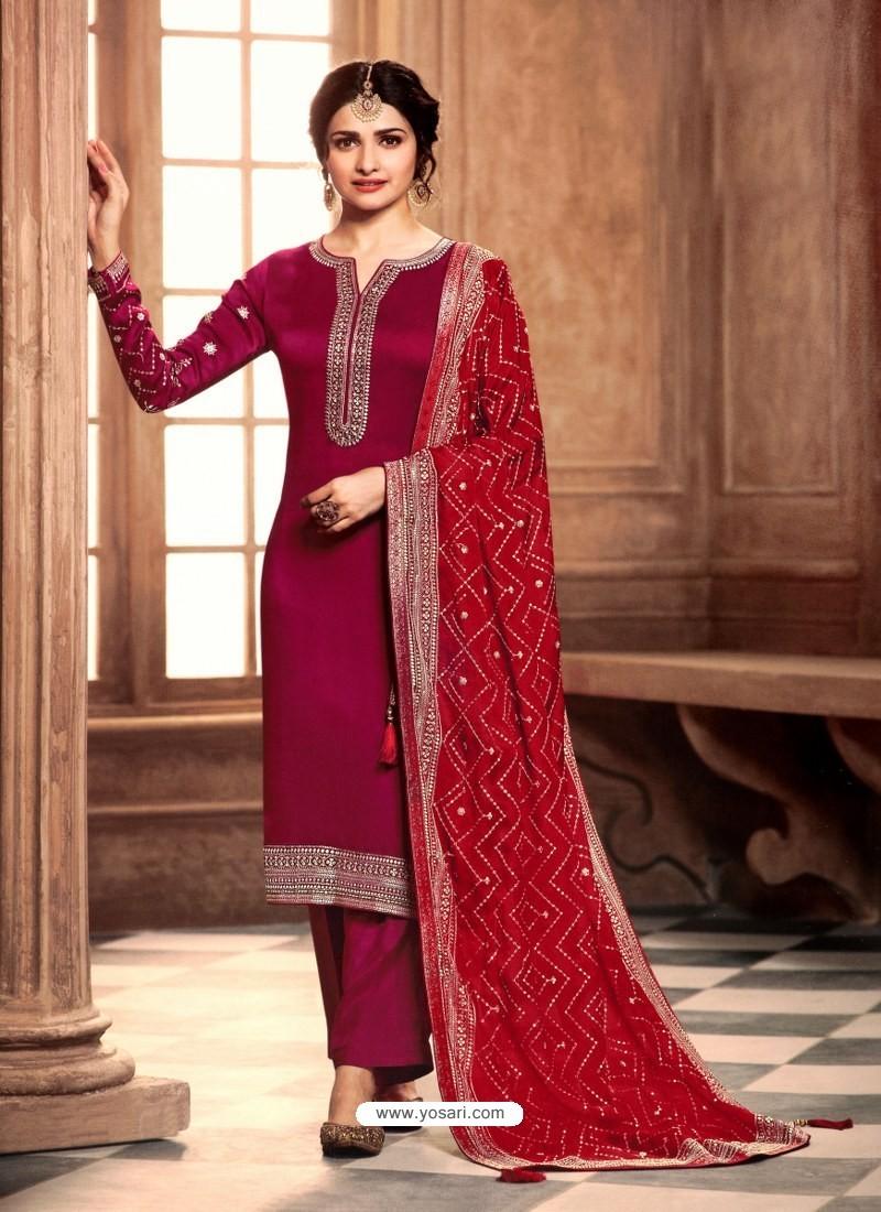 Rose Red Satin Georgette Designer Party Wear Straight Salwar Suit