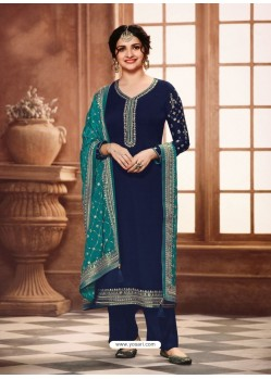 Navy Blue Satin Georgette Designer Party Wear Straight Salwar Suit