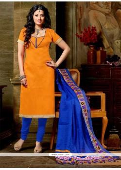 Dashing Banglori Silk Orange Churidar Designer Suit