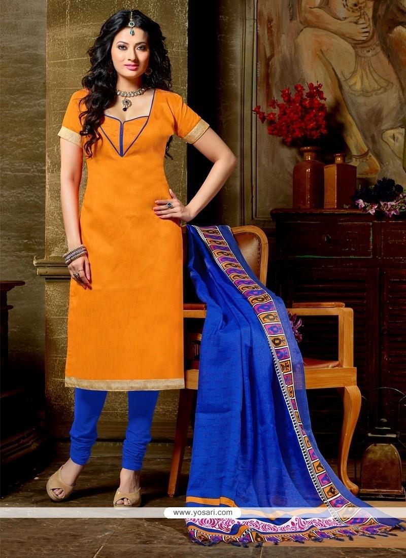 Dashing Banglori Silk Orange Churidar Designer Suit