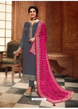 Grey Satin Georgette Designer Party Wear Straight Salwar Suit
