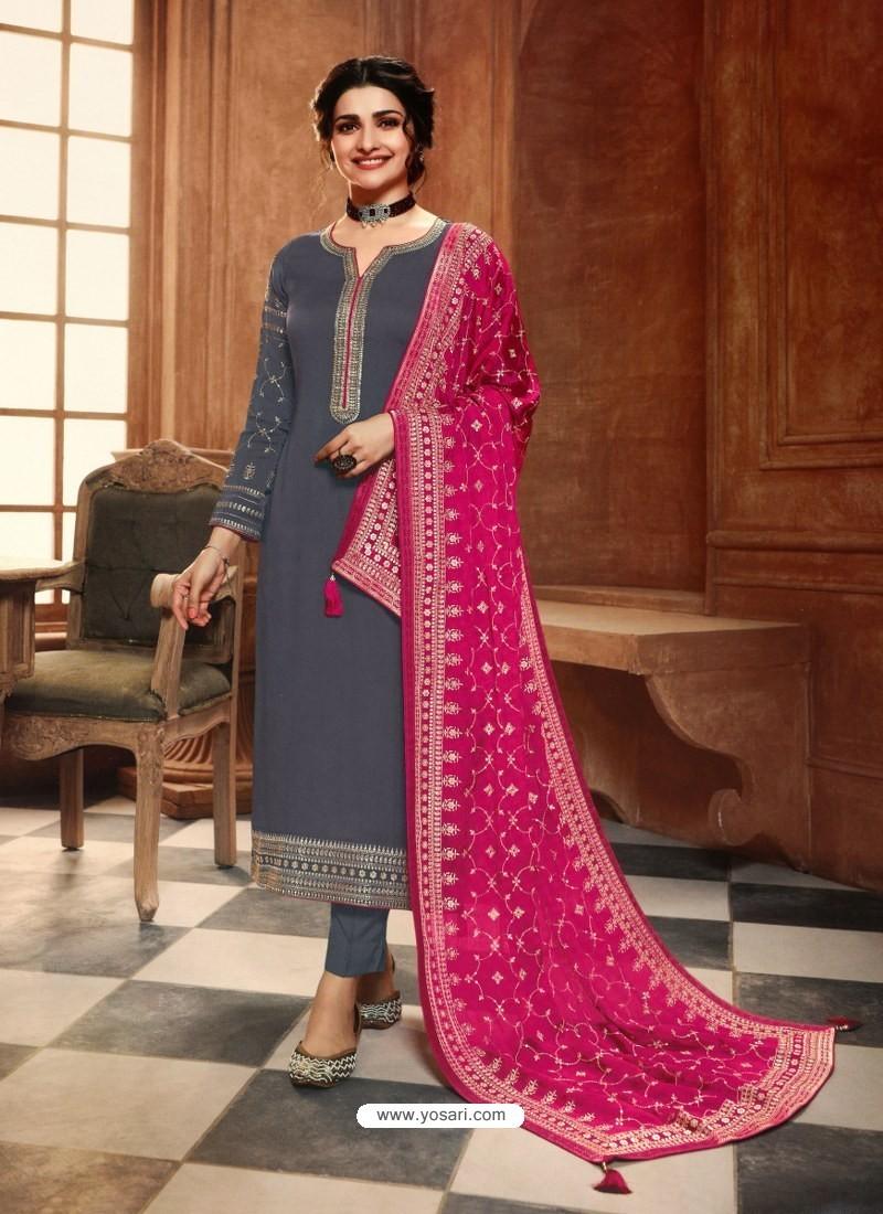 Grey Satin Georgette Designer Party Wear Straight Salwar Suit