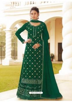 Dark Green Chinon Designer Party Wear Wedding Suit