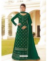 Dark Green Chinon Designer Party Wear Wedding Suit